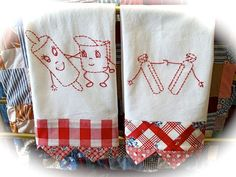 Reversible Vintage Style Red Checked Embroidered Dish Towels