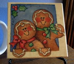 Gingerbread men christmas coaster