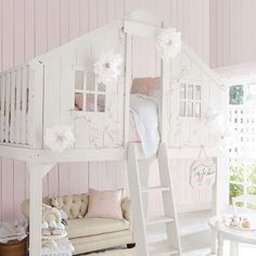 Hudson Bed Treehouse Loft - Pottery Barn Kids (treehouse-loft-bed-c. Treehouse Loft Bed, Playhouse Loft Bed, Romantic Bedroom Decor, Bedroom Vintage, Girl Bedroom Designs, Girls Bedroom, Bedroom Ideas, Trendy Bedroom, Bedrooms