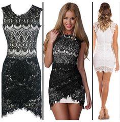High Quality New Fashion Women Sexy White Dress Lace Hollow out Mini Dress