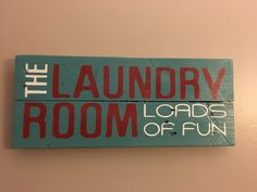 Rustic sign 'The laundry room loads of fun', laundry room decor, laundry signs, pallet signs, home decor by Rusticpalletshop1 on Etsy