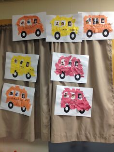 Transportation Theme Buses with Teacher pic driving, child in middle and magazine cut out in back