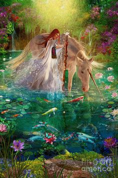 Unicorn And Fairies, Unicorn Fantasy, Unicorn Art, Magical Unicorn, Magical Creatures, Fantasy Creatures, Fantasy World, Fantasy Art, Fantasy Forest