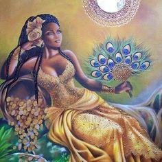 Rituals To Invoke Yoruba Goddess Oshun Oshun Goddess, Goddess Art, Goddess Of Love, Orishas Yoruba, Yoruba Religion, African Goddess, Black Artwork, Black Women Art, Fantasy Landscape