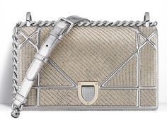 Check Out Dior's Cruise 2016 Handbags, In Stores Now Dior Diorama Bag, Metallic Bag, Fashion Bags, Christian Dior, Cruise, Saint Laurent, Swag, Chanel, Michael Kors