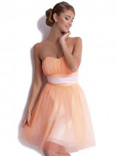Sukienka z szyfonu w odcieniach moreli ,idealna na wesele