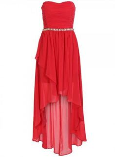 Coral Shirred Layered High Low Strapless Chiffon Dress,  Dress, prom dress  strapless  high low, Chic