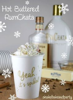 Hot Buttered RumChata – the perfect drink to serve at your Christmas party! Hot Buttered RumChata – the perfect drink to serve at your Christmas party! Cocktail Drinks, Fun Drinks, Yummy Drinks, Alcoholic Drinks, Spiced Rum Drinks, Cocktail Recipes, Bartender Drinks, Liquor Drinks, Cold Drinks