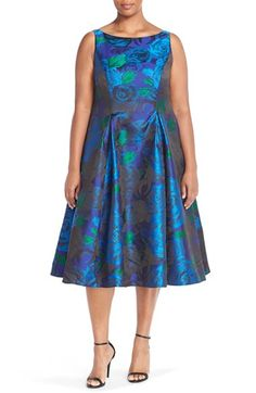 Adrianna Papell Floral Jacquard Party Dress (Plus Size) available at #Nordstrom