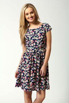 Lorna Cap Sleeve Floral Print Skater Dress - BooHoo