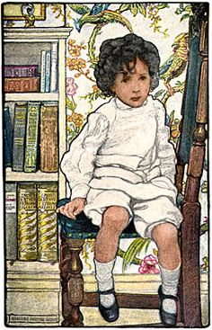 """Poem illustration by Elizabeth Shippen Green: """"Mystic, A Penny for Your Thoughts,"""" 1903."""