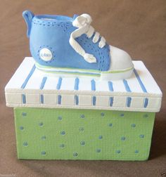 Two's Company Ceramic Baby Shoe Trinket Box Keepsake Box