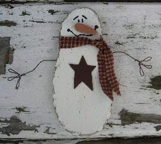 *SNOWMAN ~ Christmas Primitives & Winter Decor - Snowman with Lighted Saltbox Houses,Snowmen,Country and Primitive Christmas Decor
