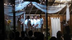 Bridal party on stage