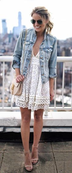 #fall #outfits  women's white deep v-neck mini dress and blue denim button-up jacket