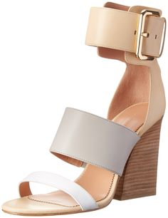 Sigerson Morrison Women's Poker Gladiator Sandal, Light Gray/White/Vanilla, 8.5 M US. Block-heel sandal featuring gold-tone buckle closure and straps at toe, vamp, and ankle. Zipper at heel counter.