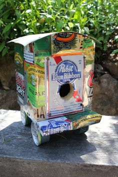 Soda can upcycled to bird houses