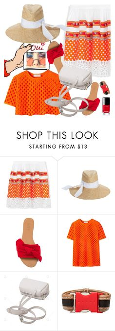"""""""Orange with red & white"""" by petalp ❤ liked on Polyvore featuring Tory Burch, Lola, Raye, Marni, Chanel and ootd"""