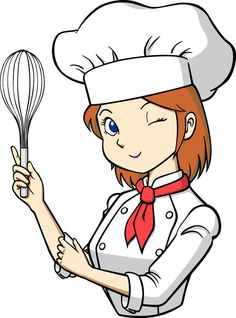 free cartoon girl chef cook vector illustration illustration rh pinterest com cook clipart black and white cork clipart