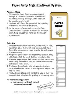 FREE Paper Drop System for organizing student papers - ensures that all students turn in their work and all papers have names!