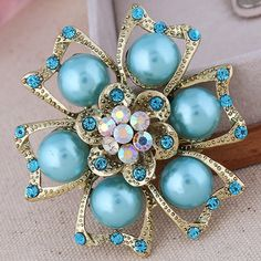 Glass Pearl Brooch, Zinc Alloy, Flower, antique gold color plated, with glass pearl & with rhinestone, more colors for choice, nickel, lead & cadmium free, 60x60mm, 10PCs/Lot,china wholesale jewelry beads
