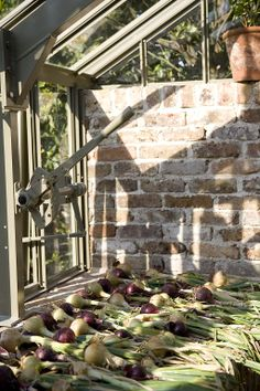 Even the onions look stylish drying out on this bespoke brick greenhouse benching