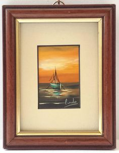 Original Oil Painting Picture Signed Mounted Wood Frame Sailboat Sunset Seascape