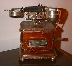 very old - mostly wood - telephone Et Phone Home, Antique Phone, Retro Phone, Old Technology, Telephone Booth, Vintage Phones, Old Phone, Phonograph, Kitchen Aid Mixer