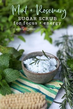Simple and Energizing Rosemary + Spearmint Sugar Scrub Recipe. Here is an uber-moisturizing, exfoliating sugar scrub recipe that will wake up your skin and your mind with its invigorating rosemary and sweet spearmint scent. #gardentherapy #sugarscrub #naturalbeauty