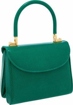 Judith Leiber Bright Green Lizard Interchangeable Top Handle Shoulder Bag.