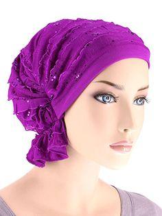 Abbey Cap Women's Chemo Hat Beanie Scarf Turban Headwear for Cancer Ruffle Plum Sequin