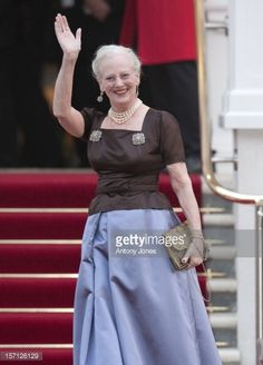 The Queen Of Denmark Arrives At A Gala Pre-Wedding Dinner Held At The Mandarin Oriental Hyde Park Hosted By Hrh Queen Elizabeth Ii On April 28, 2011 In London, England .