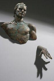 sculptures emerging from walls matteo pugliese 12 # Sculpture # Metal Art Art Sculpture, Bronze Sculpture, Wall Sculptures, Sculpture Ideas, Blog Art, Land Art, Metal Art, Sculpting, Art Projects