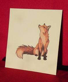 Fox ilustración - impresión Digital en A4 300gsm que marfil sexo tarjeta