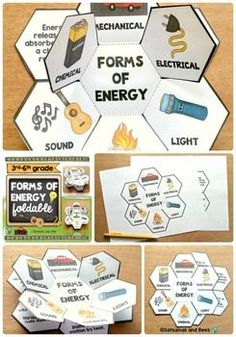 Forms of energy-Interactive Science Notebook foldables 2 foldables to help your students identify 6 forms of energy forms of energy foldable also available). This resource may be used with students from grade Whole group, small groups or individual Third Grade Science, Middle School Science, Elementary Science, Science Classroom, Science Education, Teaching Science, Science Activities, Science Experiments, Science Worksheets