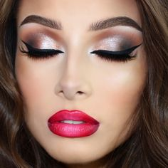 Check out our favorite Neutral shimmery eyes & red ombré lips inspired makeup look. Embrace your cosmetic addition at MakeupGeek.com!