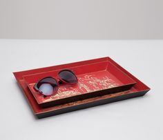 The ancient art-inspired motif is hand-painted on linen-textured tin. Medium Tray Measurements: x x Large Tray Measurements: x x Red Tin Dental Images, Preventive Dentistry, Large Tray, Ancient Art, Chinoiserie, Tin, Sunglasses Case, Stairs, Style Blog