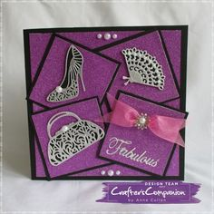 7x7 card made using Sara Signature Glamour Collection – Dies: Charismatic Clutch, Sassy Shoe, French Fan  designed by Anne Cullen #crafterscompanion