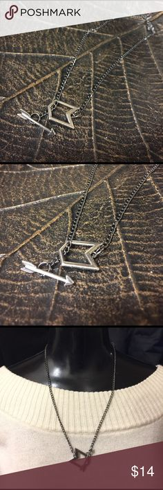 Recycled Car Part Jewelry! Arrow Toggle Necklace🖤 Recycled Car Part Jewelry! Arrow Toggle Necklace🖤 made from a pewter colored chain and a shield and arrow toggle(front clasp). One of a kind necklace in my hand made collection. Torque by Jennifer Jewelry Necklaces