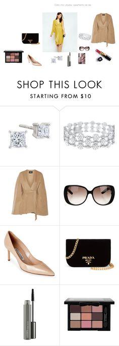 """""""outfit embarazada;  casamiento de día;  estilo chic urbana"""" by kfalcon-kf on Polyvore featuring moda, Line, Gucci, Essie, Manolo Blahnik, Prada, Chanel y MAC Cosmetics"""