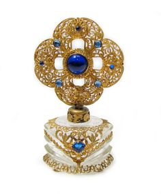 Vintage Czech Perfume Bottle Blue Jeweled Ornate Gold Filigree w/ Dauber #czech