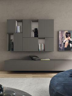 Living Room Wall Units, Living Room Tv Unit Designs, Living Room Storage, Living Spaces, Living Rooms, Interior Design Work, Interior Design Living Room, Modern Interior, Creative Bookshelves