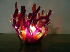 Cranberries & Tangerine fused glass candle holder by ColleenGail, $28.00