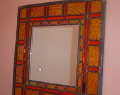 Large decorative glass mirror  made-to-order  stained glass