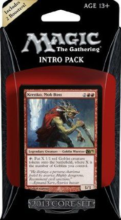Magic the Gathering M13: MTG: 2013 Core Set Intro Pack: Mob Rule Theme Deck (Includes 2 Booster Packs) by Wizards of the Coast. $17.99. 2013 Core Set Intro Pack: M13 Mob Rule Theme Deck. Includes TWO PACK: 15-Cards including 1 Rare/Mythic Rare plus a tip/token card. A ready to play 60-card deck. Buy More MTG Items & Save on Shipping!. NOTE:  This product can ONLY be shipped the United States, Puerto Rico, APO/FPOs and USVI.. Goblins have a simple philosophy: Why bother tr...