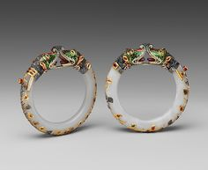 Pair of Jade Bracelets c. 18th-19th century Mughal period India jade with gold, enamel, and stone inlays