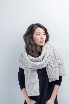 Beat the cold weather in instant style with a chunky cable-knit scarf or wrap. Blocks of textural patterning reminiscent of seamen's ganseys create an attractive allover fabric and keep the knitting process engaging. Work up a traditional scarf or, if you Brooklyn Tweed, Knitted Shawls, Knitting Scarves, Scarf Knit, Cable Knitting, Easy Knitting, Crochet Scarves, Celtic, Shawls And Wraps