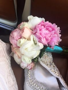 Pink peony and blush rose bouquet with Tiffany blue ribbon for my Positano wedding