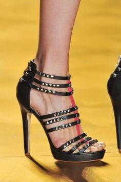 569a6655d937 Nicole Miller Black Studded Platform Sandals Spring Summer 2014  Shoes   Runway  Heels Valentin