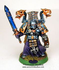 Warhammer 40K Tzeentch Thousand Sons Chaos Space Marine Sorcerer.  Painted by Kelly Kim